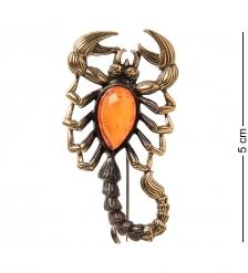 AM-2107 Брошь «Скорпион песочный»  латунь, янтарь