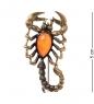 AM-2107 Брошь  Скорпион песочный   латунь, янтарь