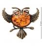 AM-2111 Брошь  Сова ученая   латунь, янтарь