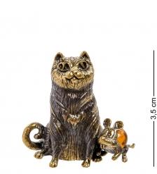 AM-2131 Фигурка «Кот и Мышка»  латунь, янтарь