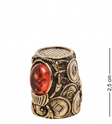 AM-2156 Наперсток  Жук Египетский   латунь, янтарь
