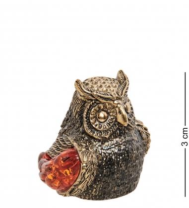 AM-2158 Наперсток  Сова ушастая   латунь, янтарь