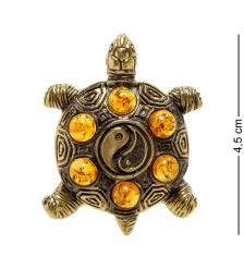 AM-2176 Подвеска Черепаха Инь-Янь  латунь, янтарь