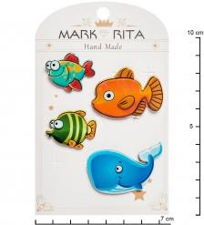 MR- 35 Н-р брошей с цанговым зажимом бабочка  Морские обитатели  Mark Rita