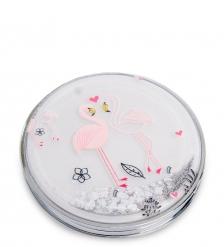 WW-110/2 Зеркало круглое с плавающими блестками Розовый фламинго