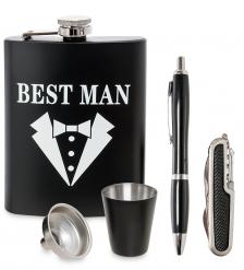 GT-23 Подарочный набор фляжка 220 мл со стопкой, ручкой и ножом  Best Man
