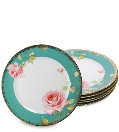 JK-229 Набор из 6 тарелок Роза  Milano Rose Pavone