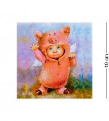ANG-448 Магнит «Ангел Хрю-Хрю с костюме поросенка» 10х10