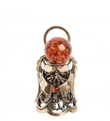 AM-2230 Фигурка «Колокольчик-Ангел»  латунь, янтарь