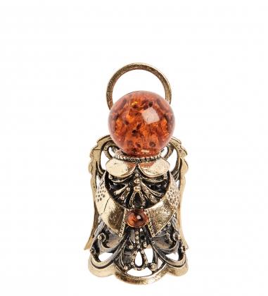 AM-2230 Фигурка  Колокольчик-Ангел   латунь, янтарь