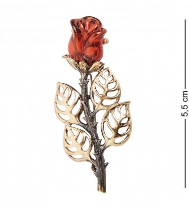 AM-2237 Брошь  Роза   латунь, янтарь