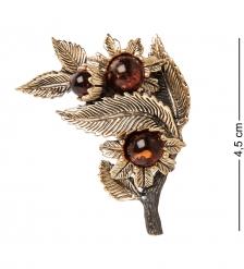 AM-2238 Брошь «Лето-Ветерок»  латунь, янтарь