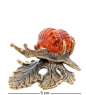 AM-2240 Фигурка «Улитка на листике»  латунь, янтарь
