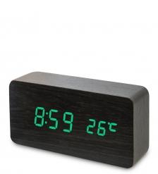 ЯЛ-07-09/ 4 Часы электронные  чёрное дерево с зелёной подсветкой