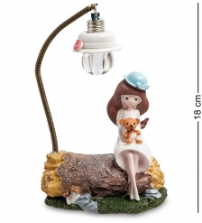 MN-112/1 Фигурка  Девочка с мишкой под фонарем