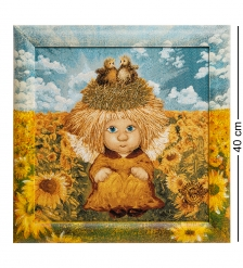 ANG-589 Гобелен в расписной раме  Ангел семейного счастья  35х35