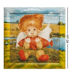 ANG-591 Гобелен в расписной раме  Ангел успеха  35х35