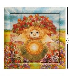 ANG-592 Гобелен в расписной раме  Солнечный ангел  35х35