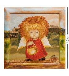 ANG-594 Гобелен в расписной раме  Ангел освещающий жизненный путь  35х35