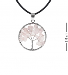 NP-04/9 Кулон с камнями «Розовый кварц»