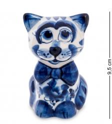 ГЛ-568 Фигурка «Кот с бантом»  Гжельский фарфор