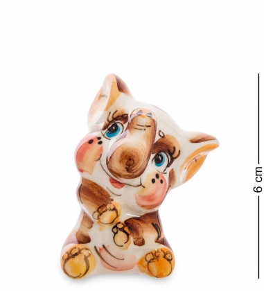 ГЛ-583 Фигурка  Слоненок  цв.  Гжельский фарфор