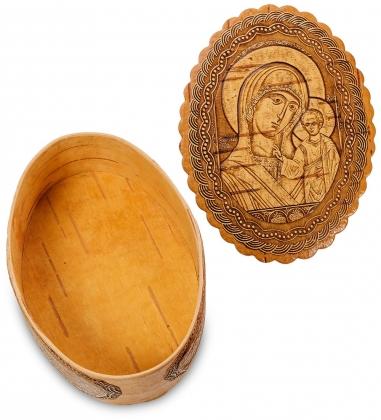 BST-110/ 4 Шкатулка  Пресвятая Богородица Казанская   береста