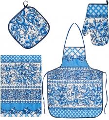 ТК-239-B Набор 4 пр.  Фартук, рукавица, прихватка, полотенце   лен, синий