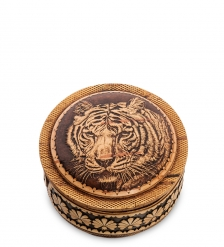 BST-411/ 6 Шкатулка «Тигр»  береста, тиснение