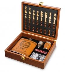 GT-45 Подарочный набор фляжка 500 мл с шахматами Лучший охотник