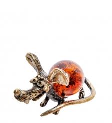 AM-2273 Фигурка «Мышь Пинки»   латунь, янтарь