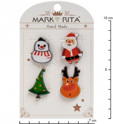 MR-101 Н-р брошей с цанговым зажимом бабочка  С Новым Годом!  Mark Rita