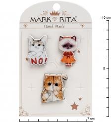 MR-107 Н-р брошей с цанговым зажимом бабочка «Котики - наше все» Mark Rita