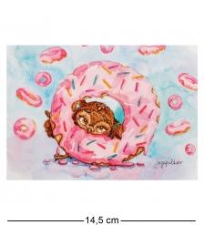 SZ-129 Почтовая открытка  Один кофе - один пончик
