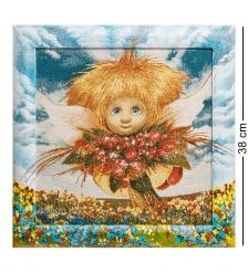 ANG-687 Гобелен в расписной раме  Ангел обаяния  35х35