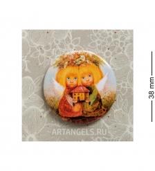 ANG-801 Закатный значок  Ангелы-хранители дома
