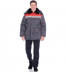 ЯЛ-02-18 Куртка зимняя, р.44-46, рост 182-188 т.серый/красный