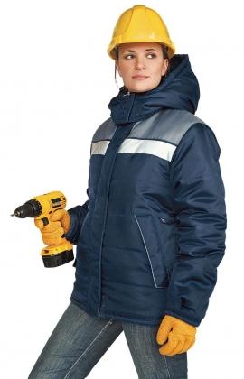 ЯЛ-02-21 Куртка жен. зимняя, р.44-46, рост 170-176, т-синяя с серым