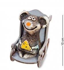 KK-616 Фигурка Мышка с сыром в кресле-качалке шамот