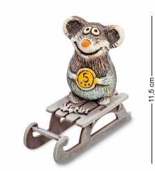 KK-617 Фигурка  Мышонок с монетой на санках  шамот