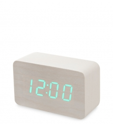 ЯЛ-07-05/ 3 Часы электронные сред.  белое дерево с зелёной подсветкой