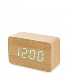 ЯЛ-07-05/ 4 Часы электронные сред.  жёлтое дерево с зелёной подсветкой