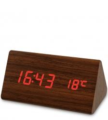 ЯЛ-07-02/ 9 Часы электронные треуг.  коричневое дерево с красной подсветкой