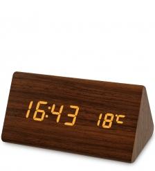 ЯЛ-07-02/11 Часы электронные треуг.  коричневое дерево с белой подсветкой