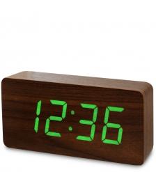 ЯЛ-07-03/ 1 Часы электронные бол.  коричневое дерево с зеленой подсветкой