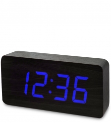 ЯЛ-07-03/ 2 Часы электронные бол.  черное дерево с синей подсветкой