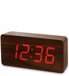 ЯЛ-07-03/ 3 Часы электронные бол.  коричневое дерево с красной подсветкой
