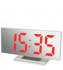 ЯЛ-07-04/1 Часы электронные зеркальные  белое дерево с красной подсветкой