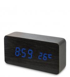 ЯЛ-07-09/ 2 Часы электронные  чёрное дерево с синей подсветкой