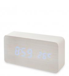 ЯЛ-07-09/ 6 Часы электронные  белое дерево с синей подсветкой